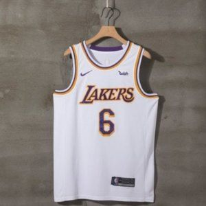 Men Lebron James 6 Los Angeles Lakers Jersey